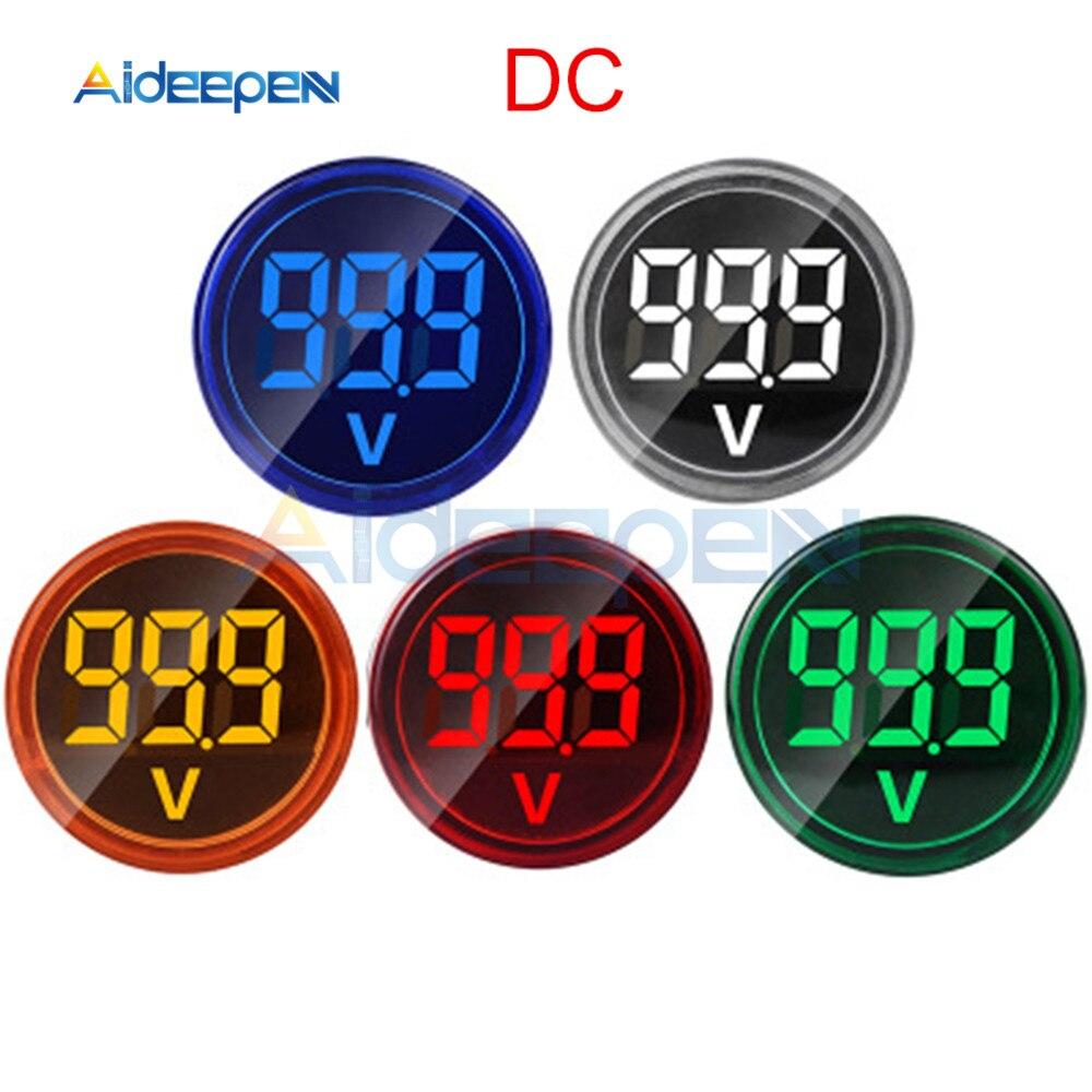 Diy mini voltímetro digital 22mm redondo dc 6 100v volt tensão testador medidor monitor de energia led indicador piloto lâmpada luz exibição Medidores de tensão    -