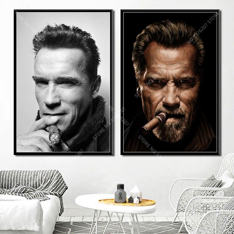 G033, decoración artística, cartel de seda de Arnold Schwarzenegger, Actor estrella de la película, cigarro, cuadro sobre lienzo para pared