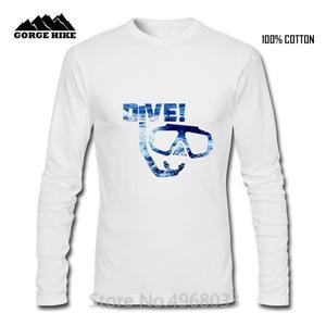 Scuba Diving Dive Blus Sea Space Design Men Long Sleeved T-shirt Crewneck High Quality Diver Adult apparel 3D Print Male T shirt