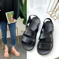 2021 new summer flat sandals women shoes gladiator open toe buckle soft jelly sandals female womens flat platform beach shoes