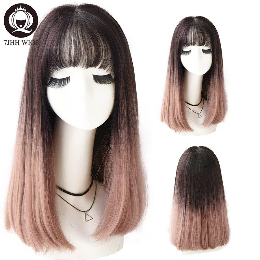 7JHH pelucas largo y recto peluca para mujeres Omber púrpura negro capas sintético resistente al calor Peluca de moda suave Natural peluca