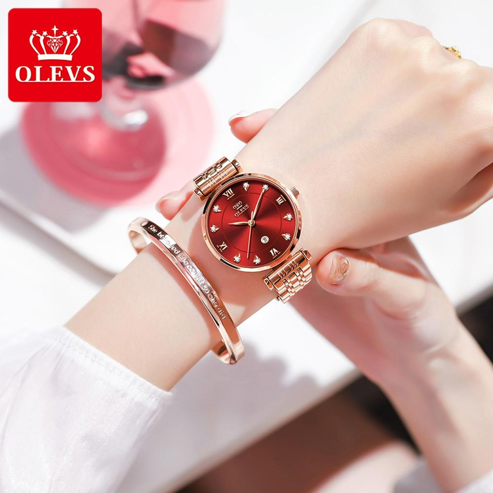 OLEVS Top Brand New Women Fashion Quartz Watch Waterproof Luxury Watches Stainless Steel Strap Date Clock Lady
