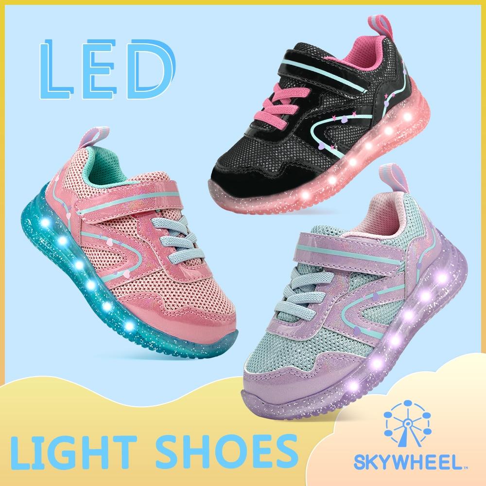 Toddler Light Up Shoes Girls Breathable Tennis Running Walking Led Flashing Sneakers for Little Kids