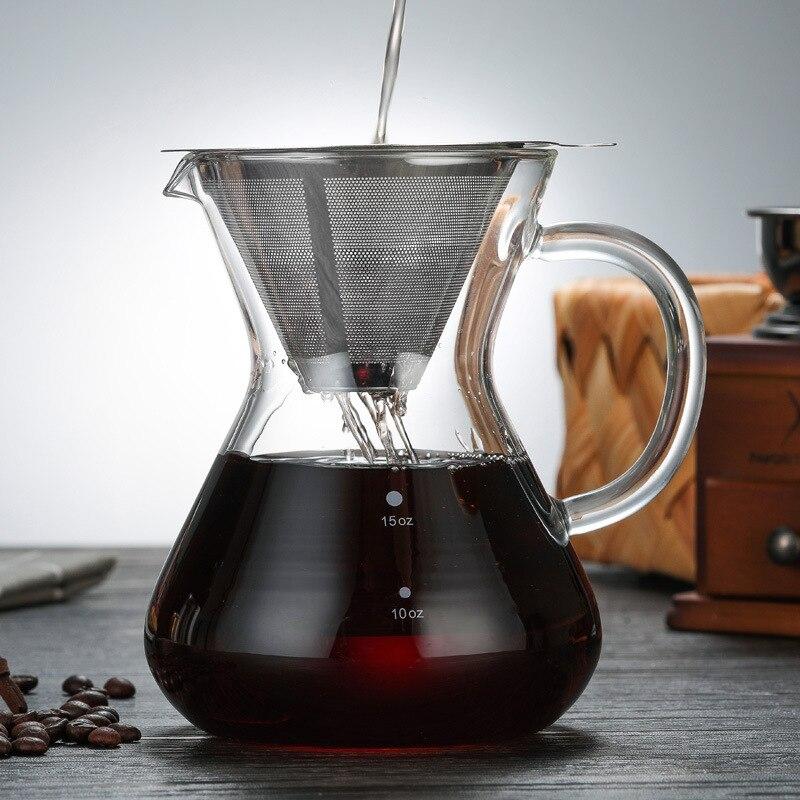 1PC 500ml turecki dzbanki do kawy szkło odporne na ciepło dzbanek do kawy Brewer Counted Hot Brewer dzbanek do kawy filtr ze stali nierdzewnej