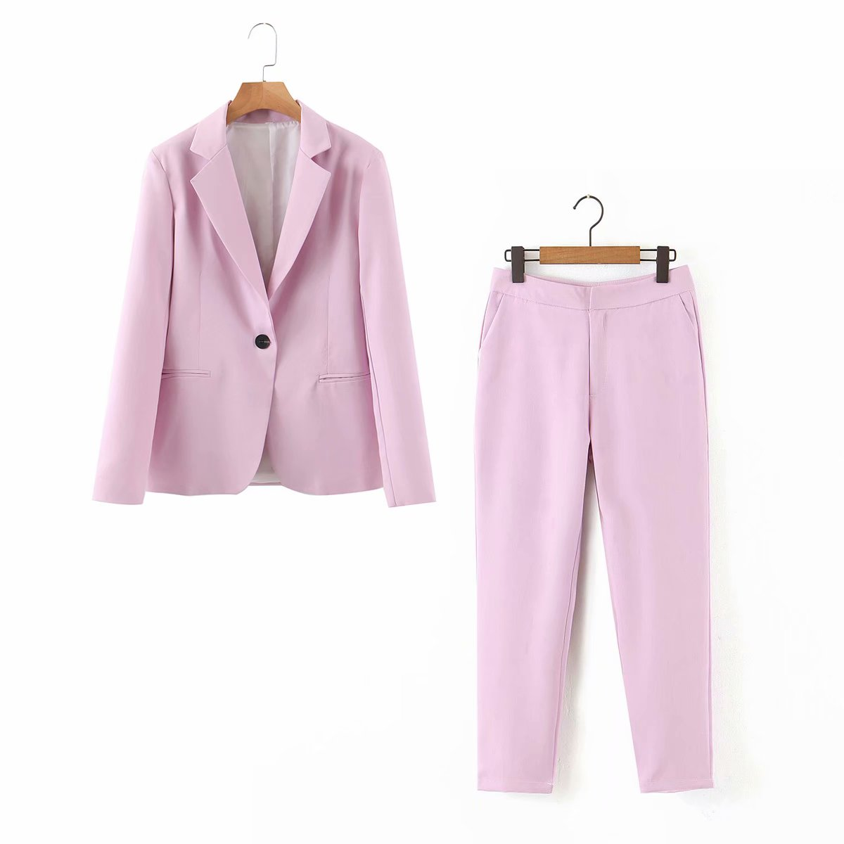 2021 Spring Autumn Purple Pink 2 Piece Set Women Single Button Office Lady Blazer Jacket Tops+Zipper Pants Suit Female Trousers
