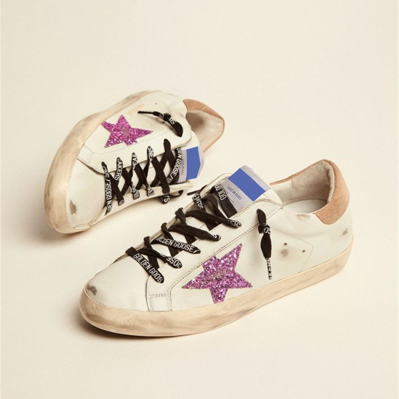 2021 Autumn New Parent-child Product First Layer Cowhide Distressed Children's Dirty Shoes Purple Sequins Star Sneakers QZ52 enlarge