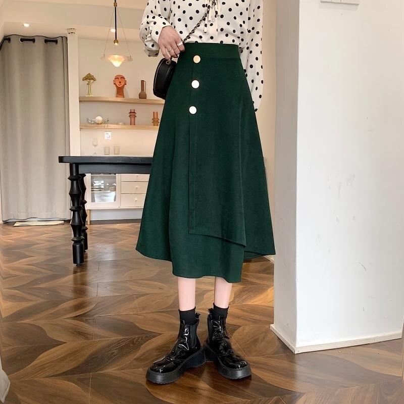 Women Irregular Skirt Fall 2021 New High Waist Slim Design Medium Long Temperament A-line Skirt