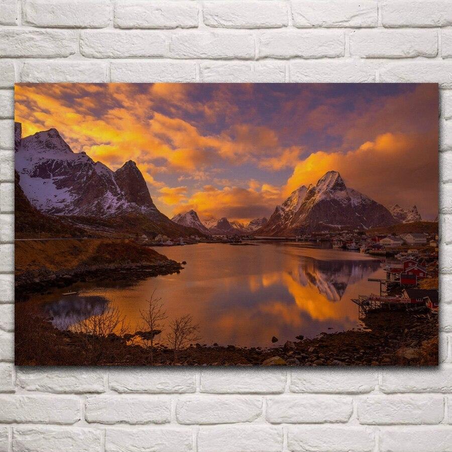 Lofoten, islas, montaña, Noruega, Escandinavia, atardecer, pueblo, sala de estar, decoración del hogar, arte, marco de madera y tela, póster KF915