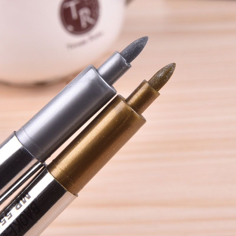 2Pcs DIY Metallic Waterproof Permanent Paint Marker Pens Gold Silver For Drawing Students Supplies Marker Craftwork Pen