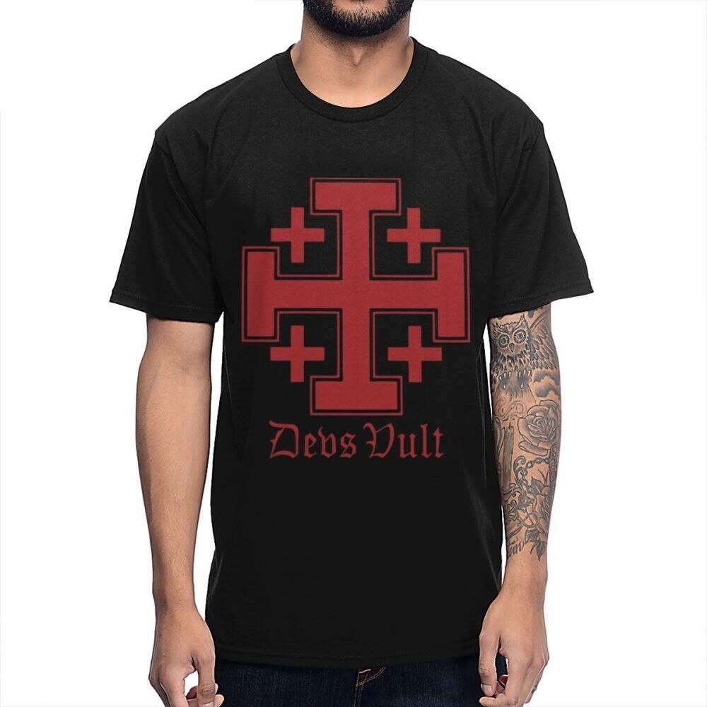 Vintage Vult Cross Crusades Camiseta Hombre clásico Knightfall caballeros Templar camiseta Big Size Homme camiseta