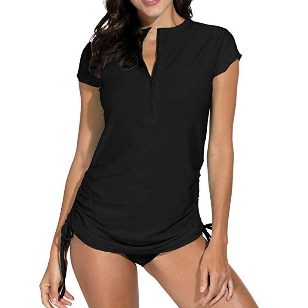 Sólido cremallera traje de baño mujer verano sarpullido protección solar UV Surf tapas mujer manga corta natación camisa ropa playera traje de baño