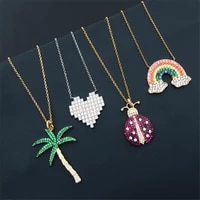 morocc silve s925 sterling silver new rainbow necklace female fashion light luxury coconut beetle heart shaped clavicle chain