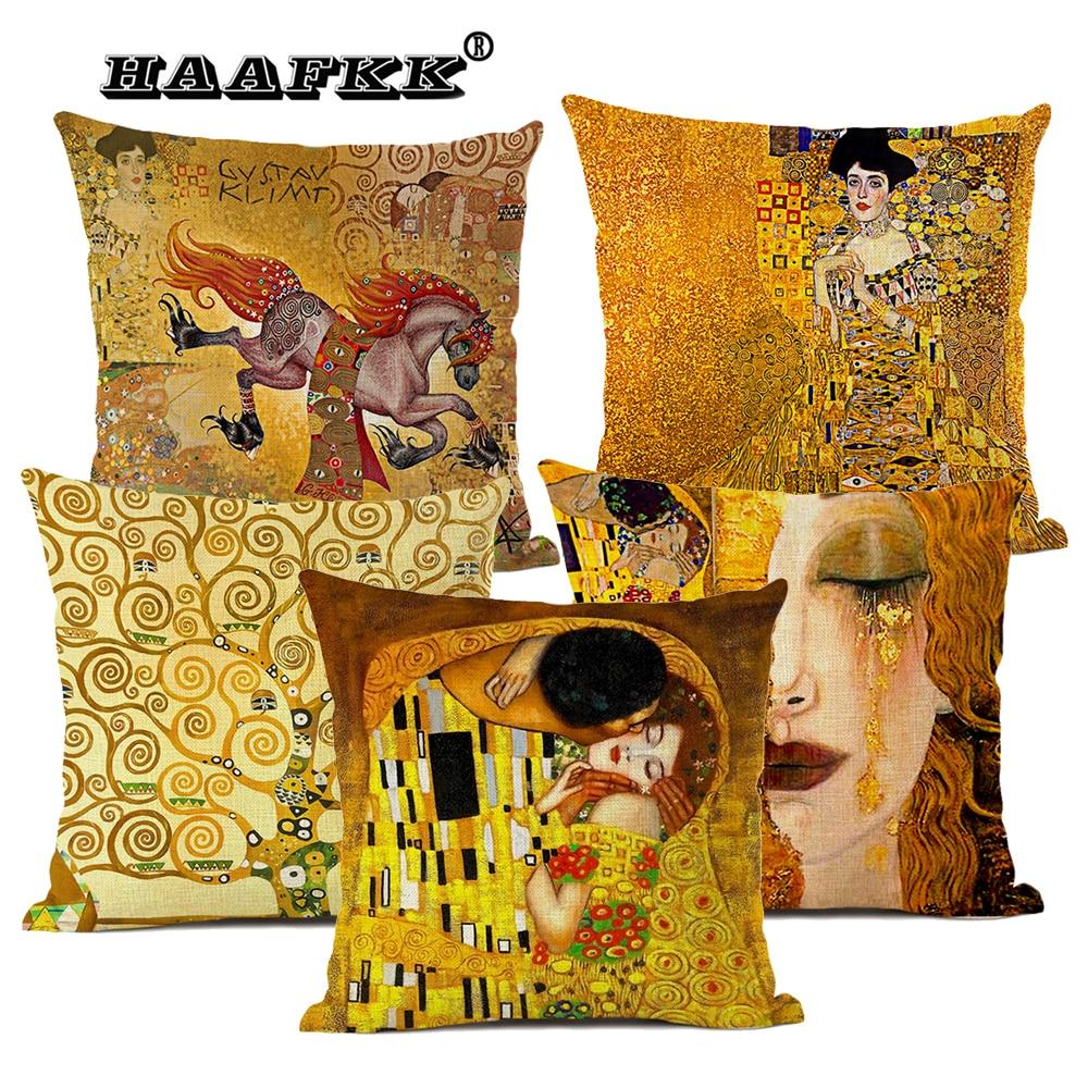 Фото - Gustav Klimt Art Oil Painting Decorative Cushion Cover Living Room Bedroom Sofa Chair Accessories Pillow Cover 45x45cm LINEN van gogh oil painting series decorative pillowcase gauguin chair vase bouquet forget me not print sofa cushion cover 45x45cm
