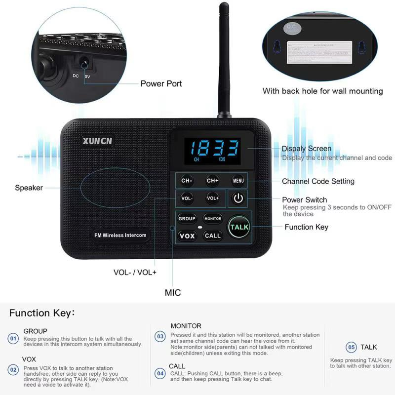 Wireless Intercoms System for Home Business Office 1 Mile Range 22 Channel 100 Digital Code Display Screen Intercom Communicatio enlarge