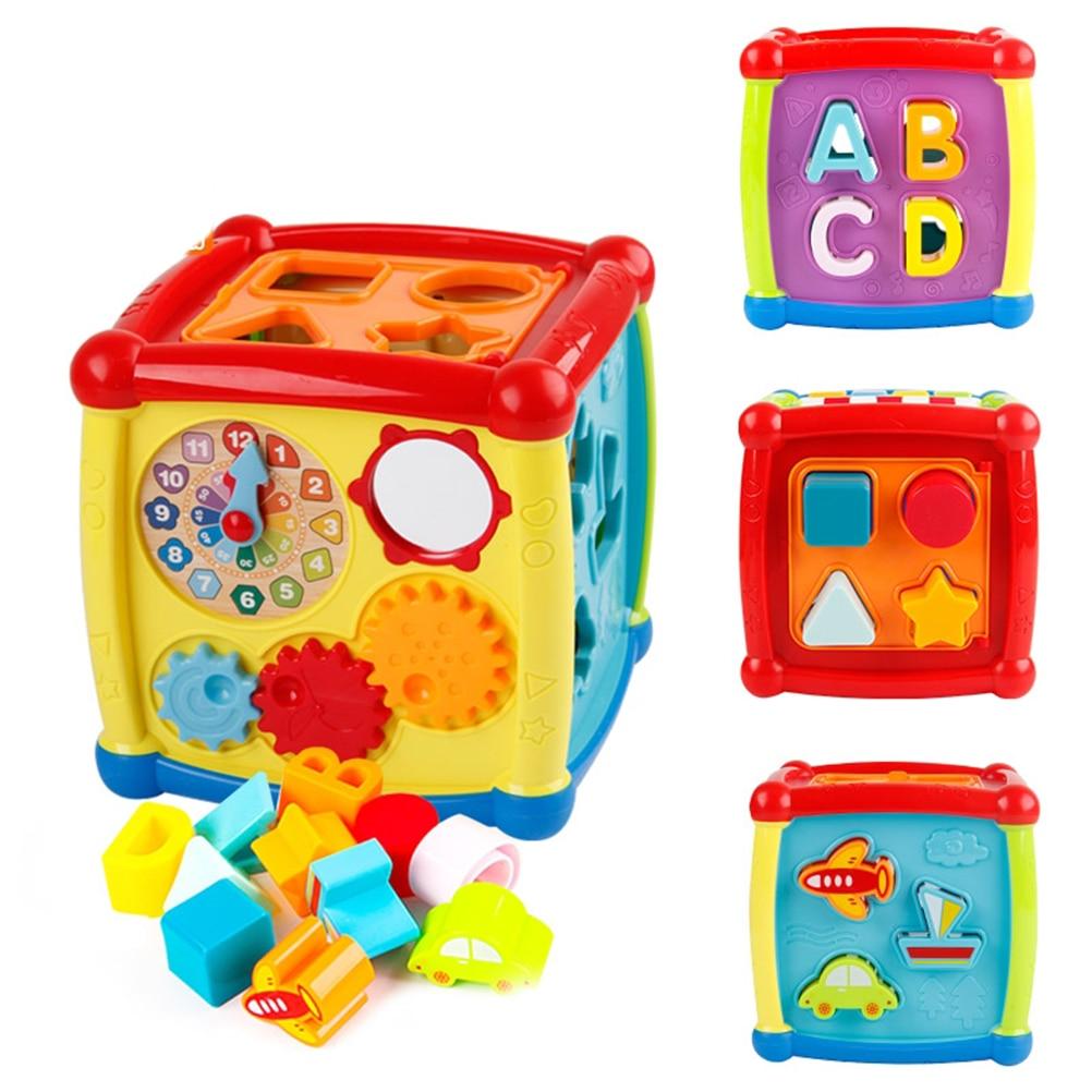 Многофункциональные Музыкальные игрушки, Электронная детская шкатулка, музыкальные игрушки, часы, геометрические блоки, сортировка, разви...