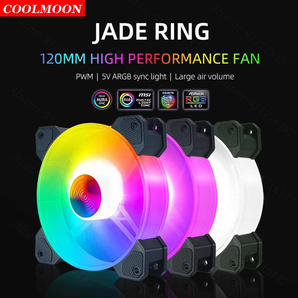Coolmoon 120mm Computer Case Fan Cooling Cooler 5V 3Pin Adjustable RGB LED 12V 4Pin PWM Heat Sink for AURA Sync PC Accessories