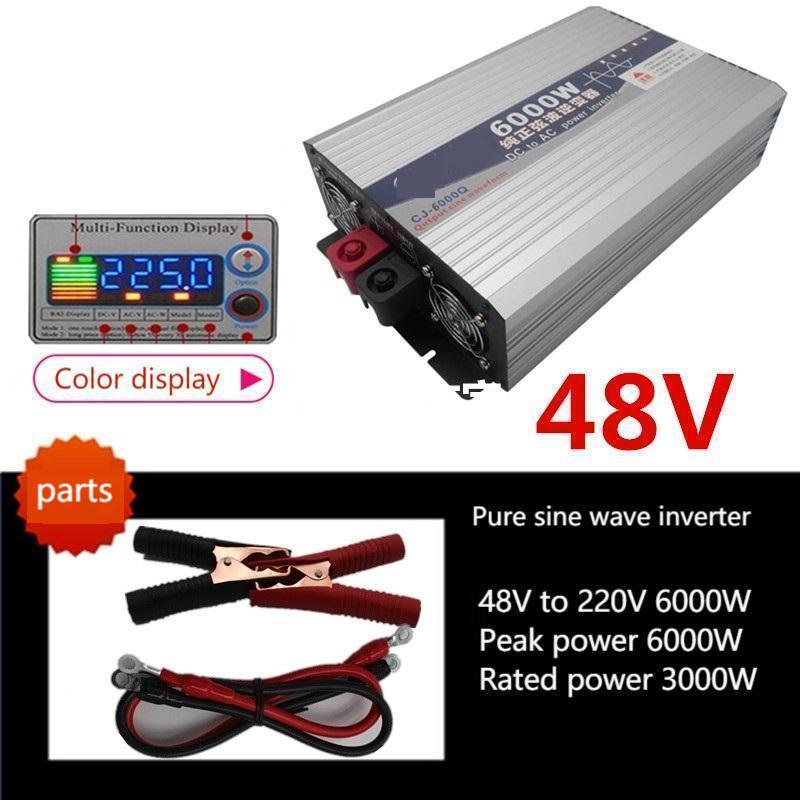 12v24v48v60v إلى 220v3000w4000w5000w سيارة نقية شرط لموجة الشمسية العاكس suswi60hz/50hz