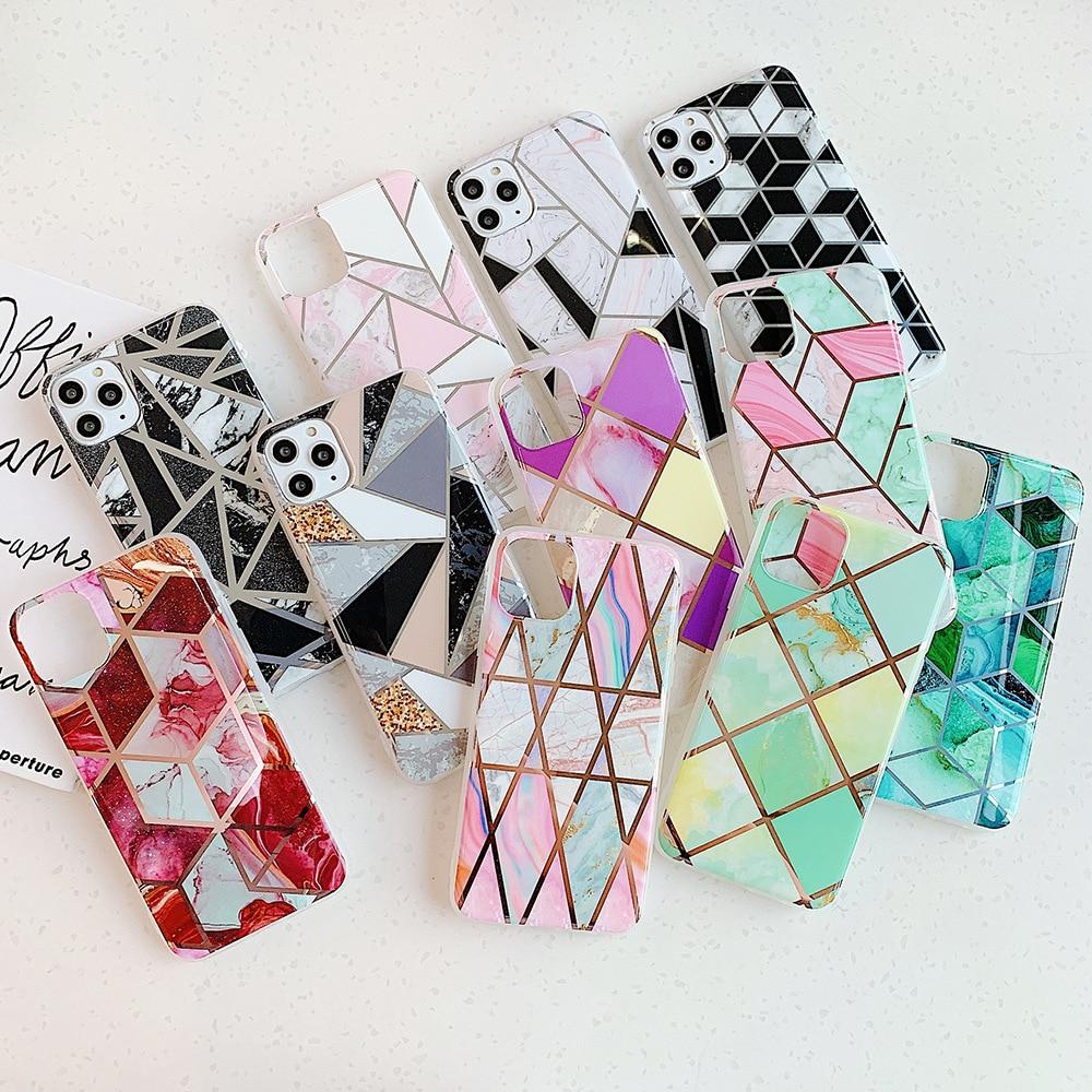 Bolas de soja, mosaico geométrico galvanizado de colores, mármol 6 6s 7 8 Plus para Apple 11 Pro Max, funda trasera de teléfono móvil XR, carcasa blanda