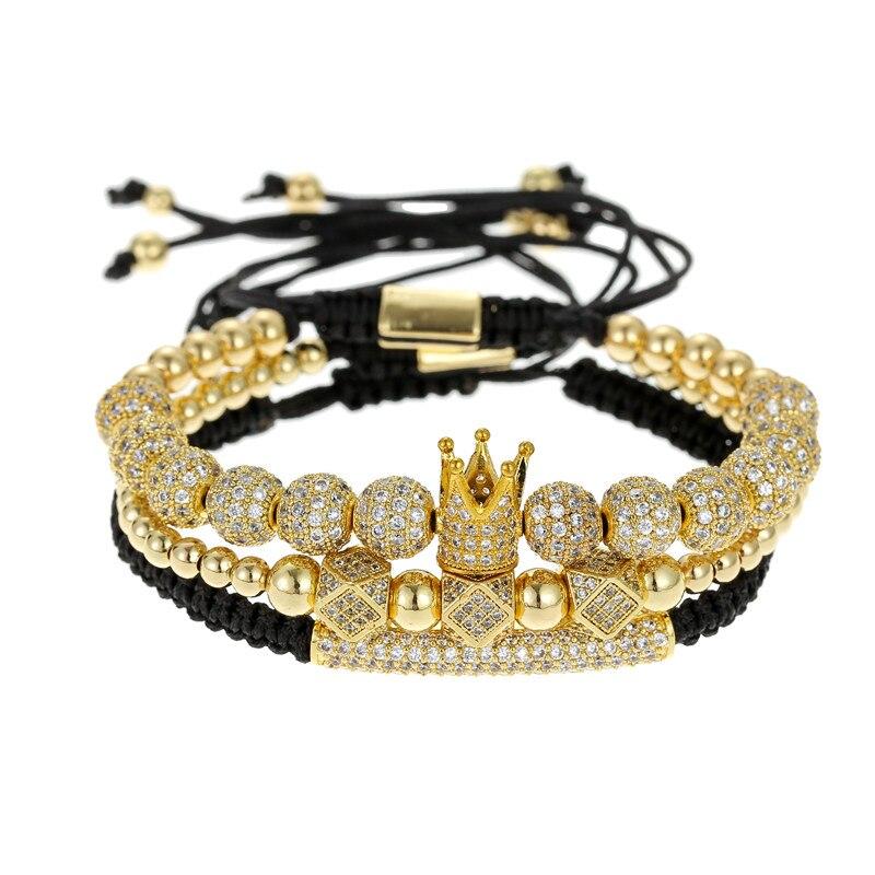 3pcs/Set Punk CZ Micro Pave Crown Polygon Moon Beads Bracelet For Men Women Braided Bracelet Set Luxury Fashion Jewelry Gift