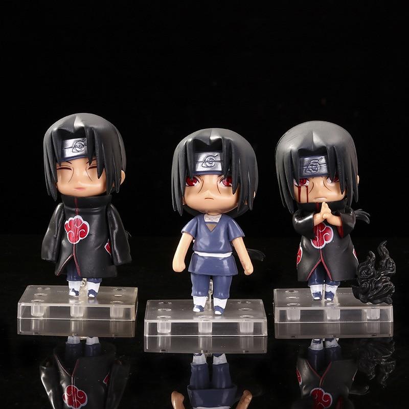 3 unids/set 9cm figura de animé Naruto juguete Sasuke Kakashi Sakura Gaara Itachi Obito Madara asesino Mini abeja modelo muñeca para los niños