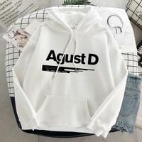 kpop agust d letter print oversized hoodies women sweatshirt korean style harajuku streetwear sudaderas autumn winter clothes
