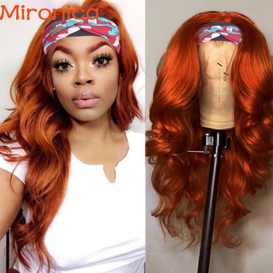 Orange Ginger Color Highlight Body Wave Headband Wig Human Hair Wigs For Black Women Brazilian 100% Remy Glueless Scarf Wig