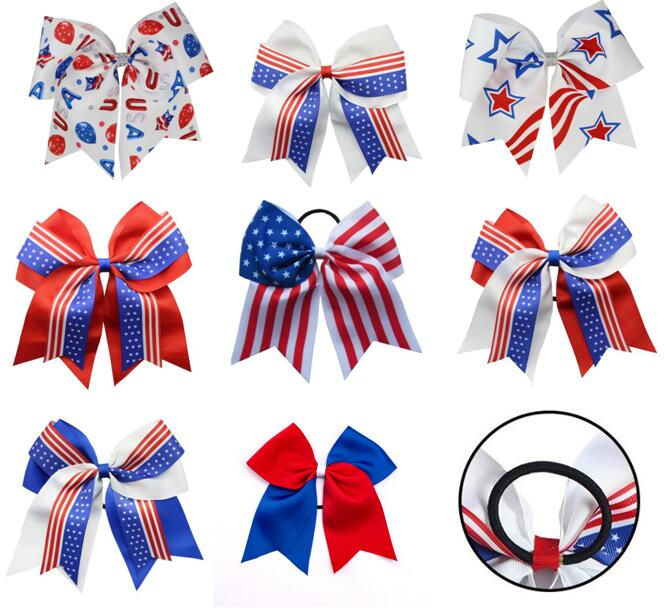 Bebé niña Bravo arco patriótico 4th De julio Día de la Independencia Americana 7 pulgadas moño para cabello con Clip o banda elástica 30 Uds