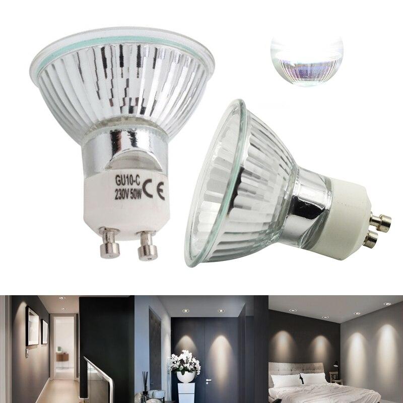10 pçs/lote 2019 venda quente durável halogênio gu10 bulbo 220 v 35 w 50 diâmetro de vidro claro com cobertura regulável quente lâmpada ponto branco