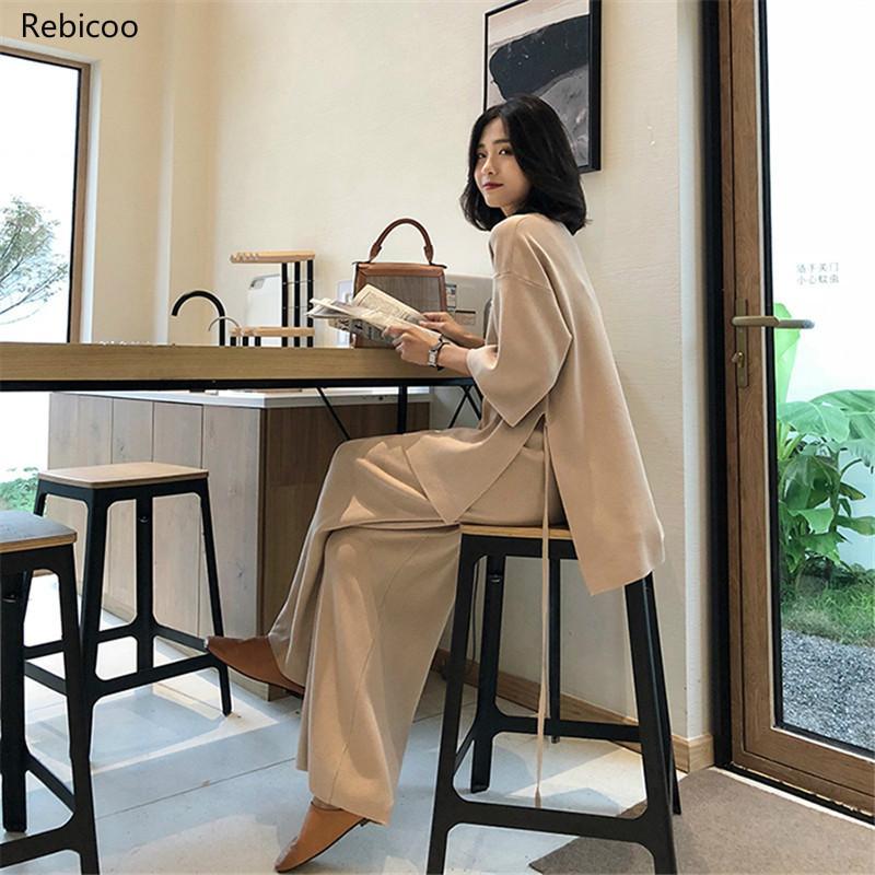 Suéter femenino de punto Pantsuit para conjunto de dos piezas para mujeres Jersey de punto cuello en V manga larga vendaje superior traje con pantalones con pernera ancha
