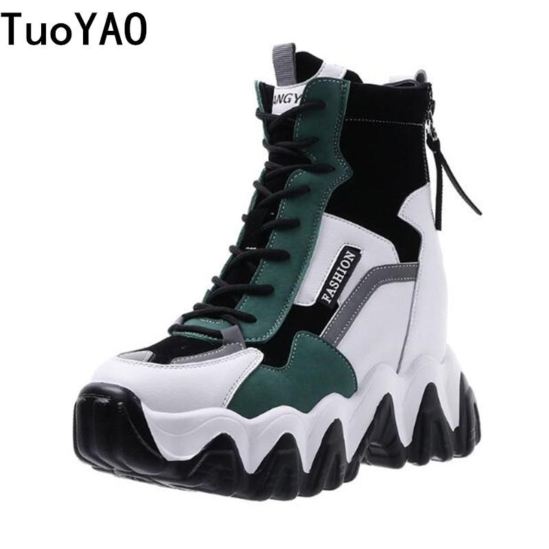 الربيع النساء سميكة وحيد الكاحل الأحذية الخريف الفاخرة منصة عارضة الأحذية المرأة 8 سنتيمتر عالية الكعب إسفين الأحذية الأحذية حذاء امرأة