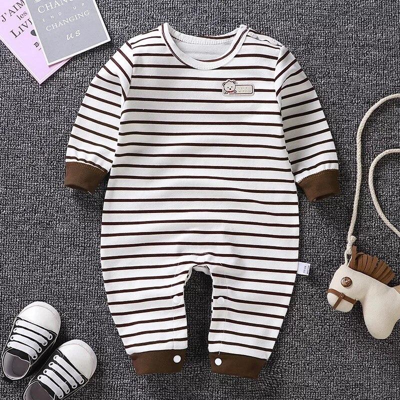 Купить с кэшбэком Newborn Baby Boys Girls Clothes  Romper Cartoon Long Sleeve Cotton Toddler  Kids Jumpsuit Infant Playsuit Outfits