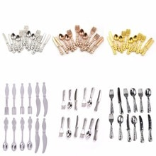 12 pièces 1:12 Vintage maison de poupée Miniatures vaisselle couverts métal couteau fourchette cuillère cuisine nourriture meubles jouets or/argent