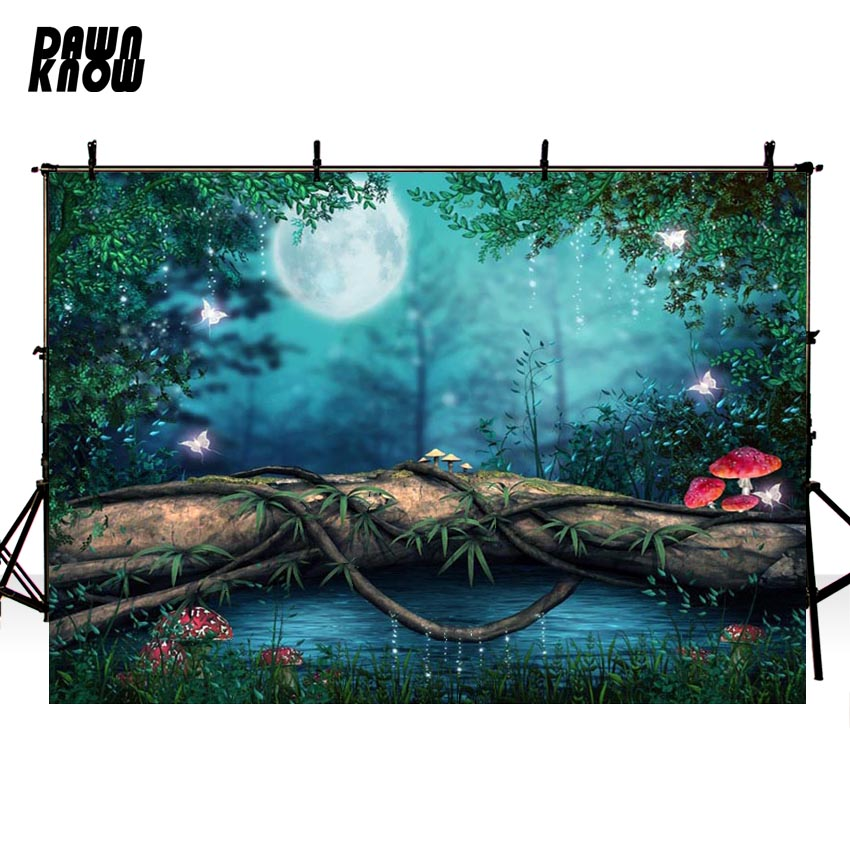 DAWNKNOW Tree Mushroom Vinyl Photography Background For Family Moon New Fabric Polyester Backdrop For Wedding Photo Studio G600