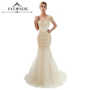 Luxury Beaded Pearl Tassel Short Sleeve Evening Dress 2019 Large Flower Beading Mermaid Evening Gown Formal Dress Party