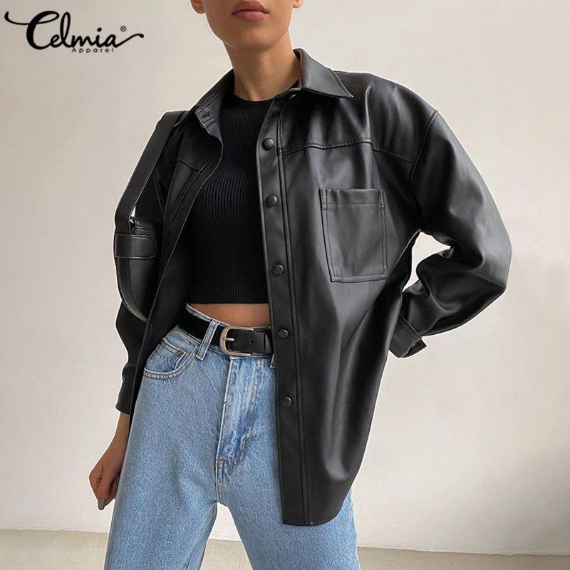 2020 PU Leather Jackets Celmia Women Vintage Long Sleeve Coats Fashion Buttons Lapel Neck Casual Outerwear Solid Color Coats 5XL