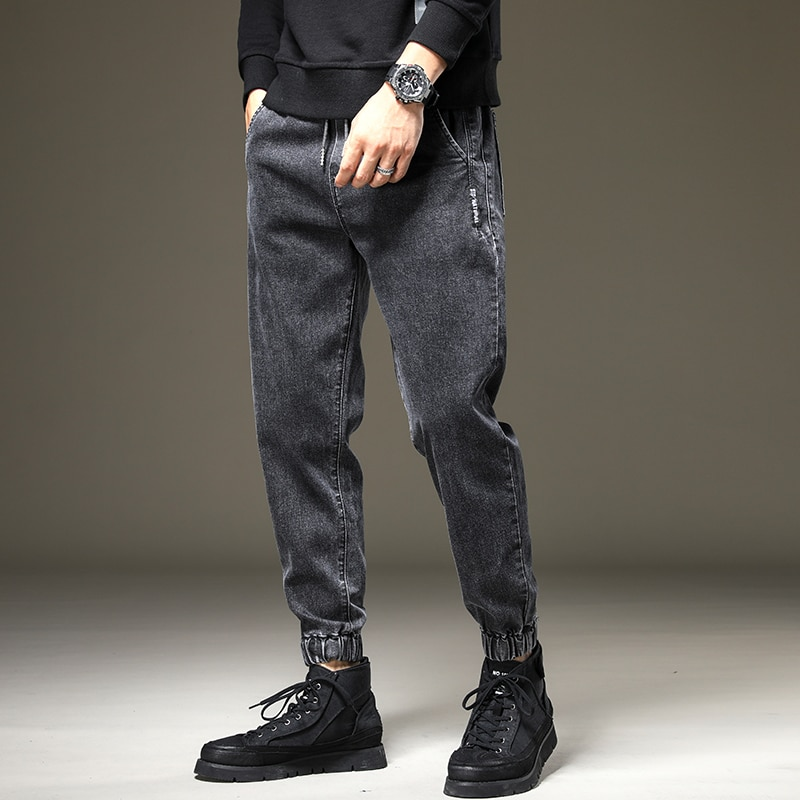 Trendy Brand Autumn New Hong Kong Style Jeans Men's Casual Loose Ankle-Tied Long Pants Slim Fit plus Size Workwear Harem Pants
