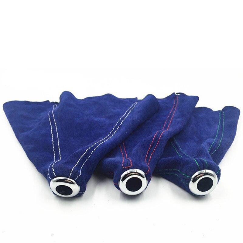 Coche Manual automático cambio de marchas collares cuero de gamuza Universal cambio de marchas bota azul carreras tapa de pomo de cambio de marchas