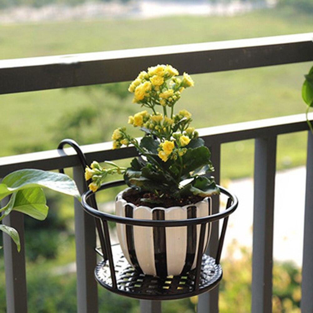 Balcón de Rack colgante de pared verde eneldo orquídea olla valla de hierro flor estante Rack de almacenamiento balcón flor