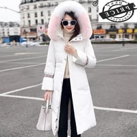 female jacket winter thick warm womens down jacket large fox fur hooded clothes 2021 korean duck down coat hiver a620a