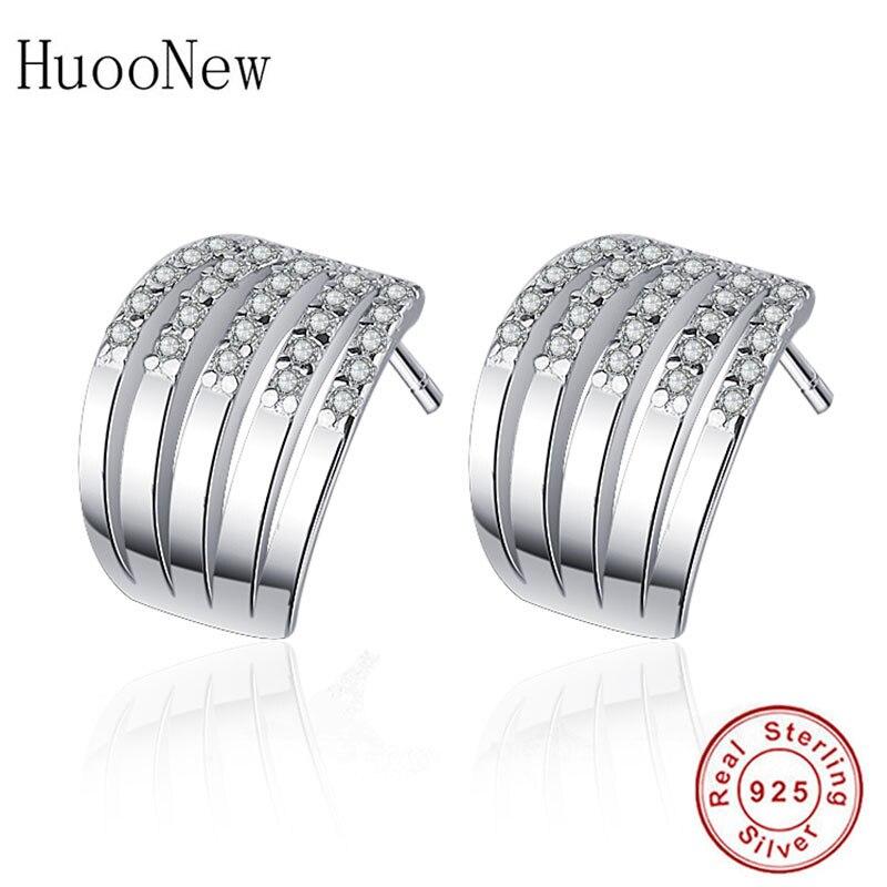 HuooNew, pendientes de plata de ley 925 con pequeñas hileras de arco de diamantes de imitación, pendientes de lujo para mujer, niños, niñas, bodas, Navidad, Brinco 2018