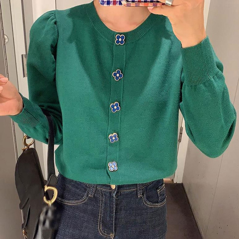 Chic Button Puff Sleeve Korean Style women Cardigan Gilet femme manche longue Tricot Crop sweater Autumn Harajuku Black Jumper