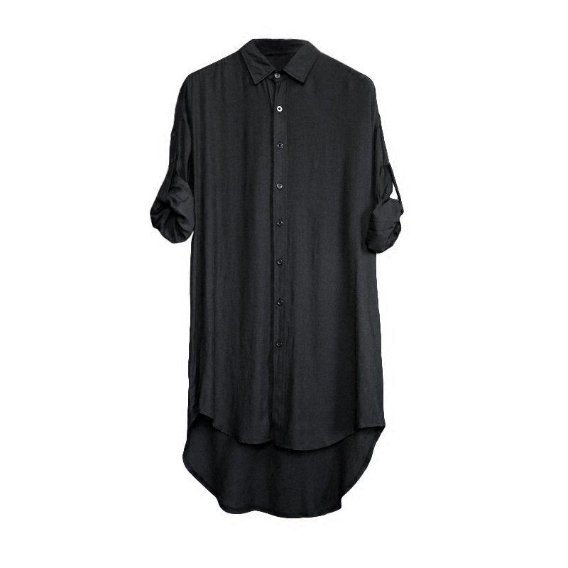 Idopy estilo punk camisas estendidas longo redondo hem hip hop blusa de rua topos camisas góticas de rua para o homem e a mulher