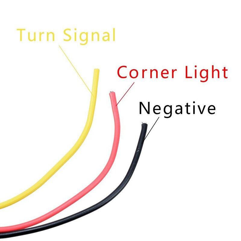 Pedestal intermitente lámparas guardabarros ABS Shell coche 24 LED PC lente blanco + ámbar + rojo 2 uds Super brillo duradero