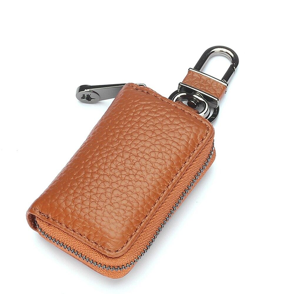 Llave de coche Vintage cuero genuino ama de llaves cremallera bolsillo llavero bolsa moda cuero de vaca llave bolsa monedero billetera