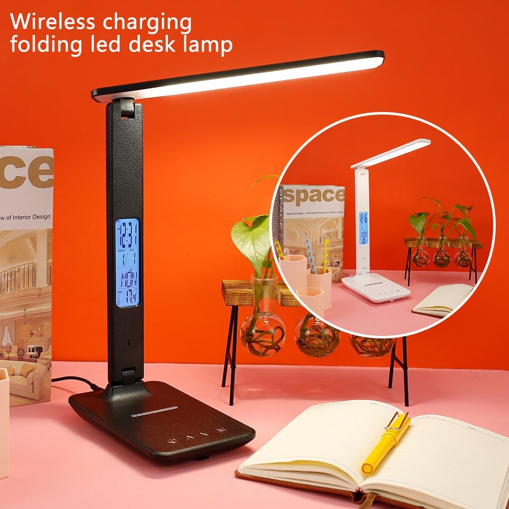 luz da mesa de carregamento sem fio led lampada de mesa com calendario despertador