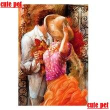 Bonita pintura de diamantes diy para mascotas, dulce pareja, cuentas cuadradas, mosaico de diamantes redondo, hombre mujer, bordado 5D, pintura decorativa, obra de arte