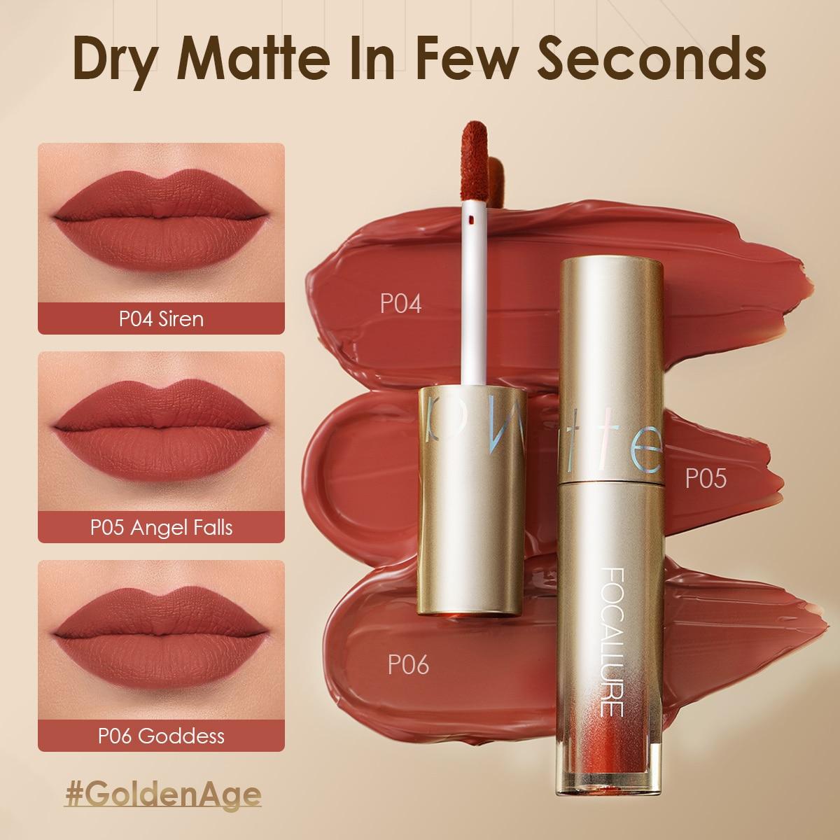 FOCALLURE 20 Colors Matte Lipstick Waterproof Longlasting Quick-Drying Glorious Lip Gloss Nude Velve