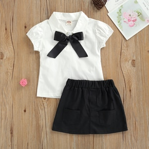 Pudcoco Baby Girl Tops Pockets Skirt Short Sleeve Lapel Neck Big Bow Buttons Cardigan Solid Color Half Skirt Baby Girl Clothes