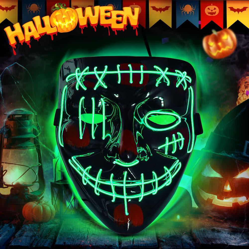 1 Pc Halloween LED Maske Purge Masken Licht Up Masken Leucht Cosplay Partei Mak Festival Glow Party Liefert