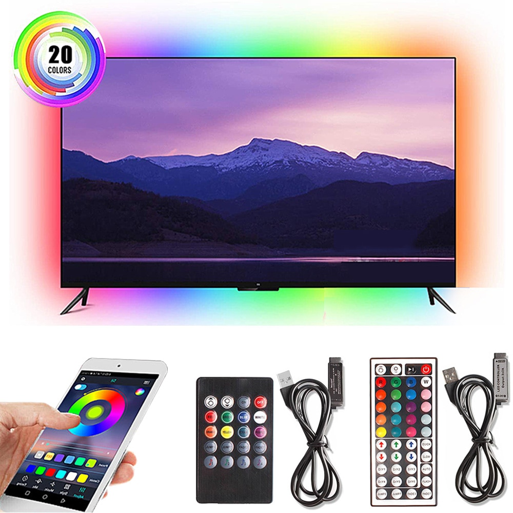 Tira de luces LED USB 5050 RGB 50CM 1M 2M 3M 5V Bluetooth/controlador de música, tiras LED flexibles, iluminación de fondo de TV de cinta de diodo